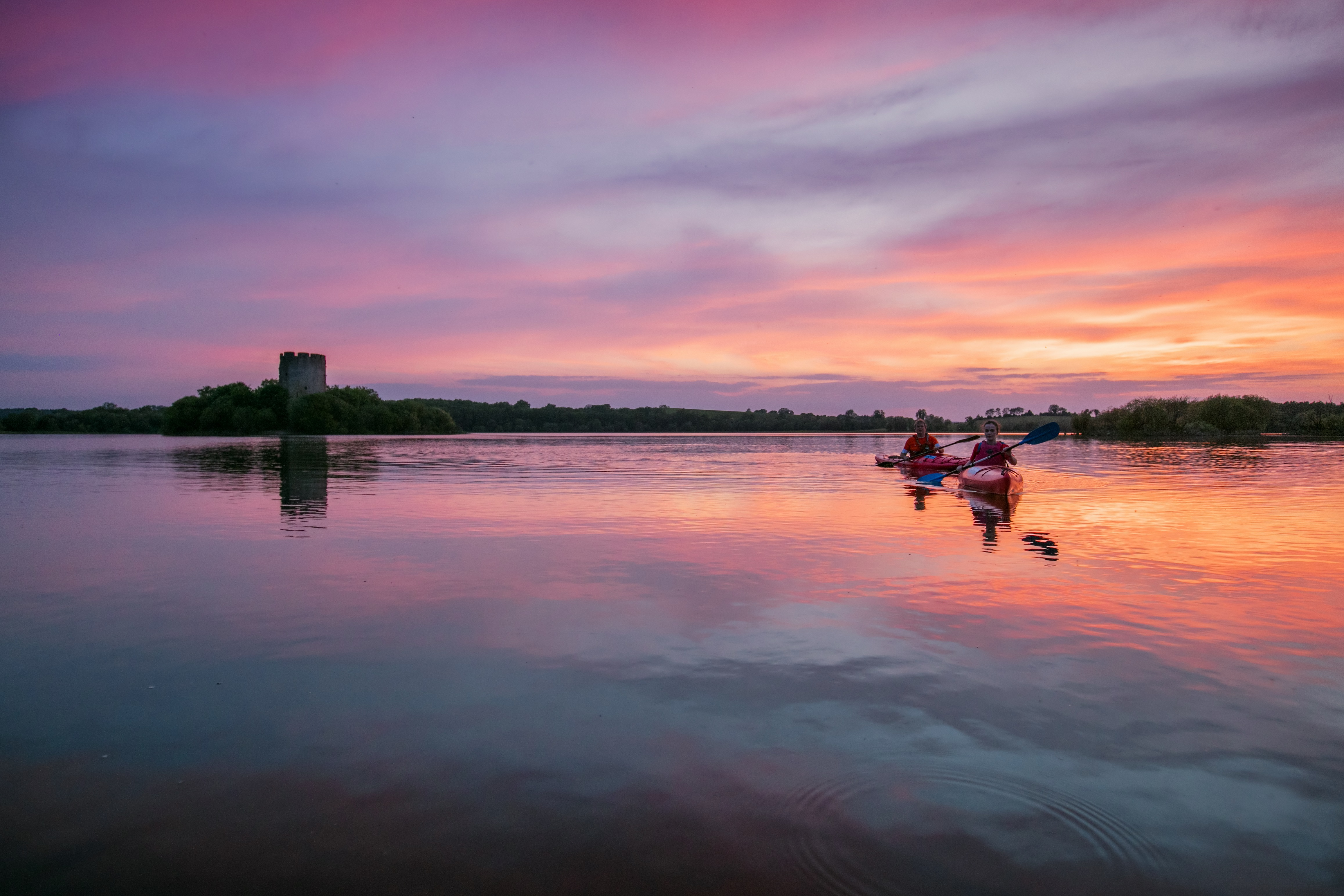 Canoeing near Cloughoughter Castle on Lough Oughter